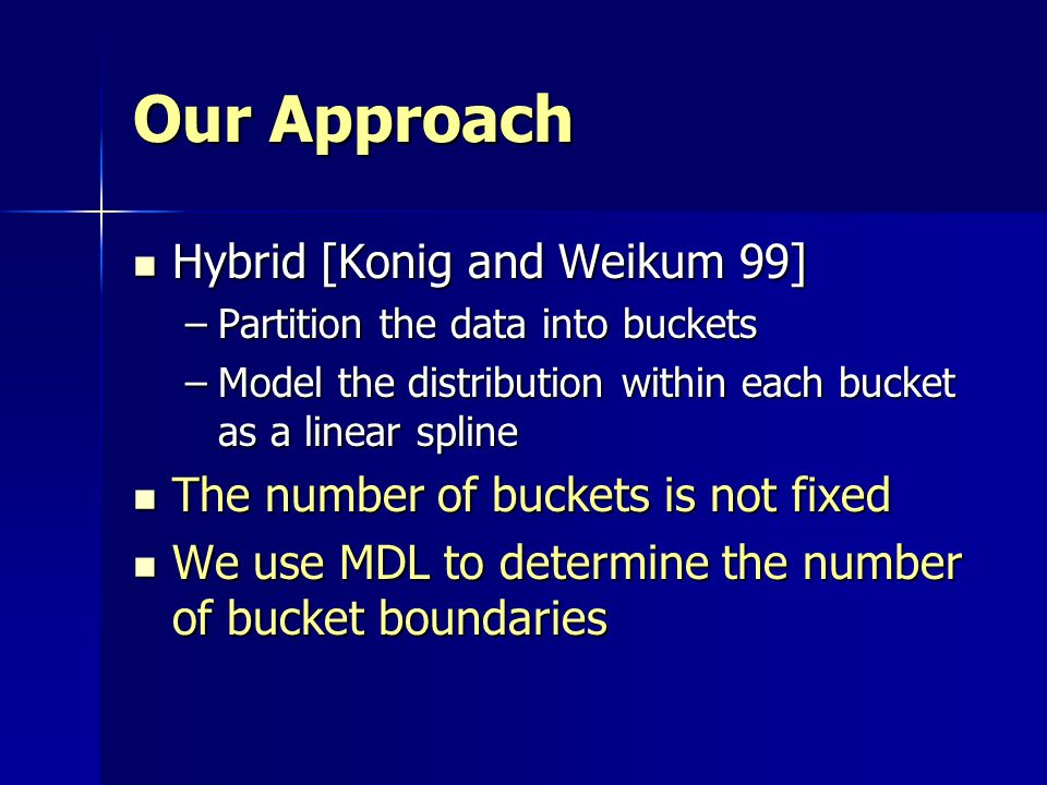 Our Approach Hybrid [Konig and Weikum 99]